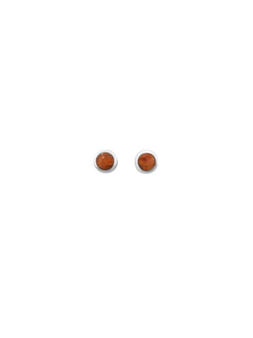Orange Spondylus Stud Earrings and Matching Pendant