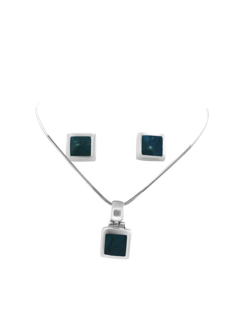 Square Turquoise Spondylus Stud Earrings and Matching Pendant