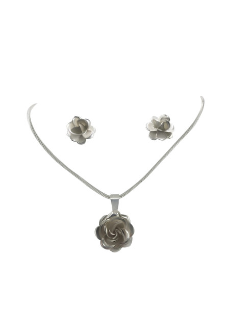 Small Silver Rose Stud Earrings and Matching Pendant