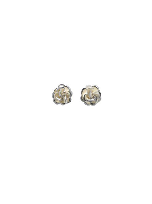 Medium Silver Rose Stud Earrings and Matching Pendant