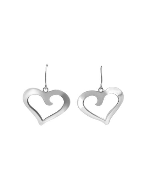 Silver Open Heart Earrings