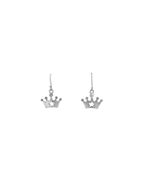 Silver Princess Crown Earrings