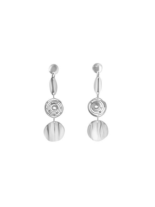 Silver Triple Circle Linked Earrings