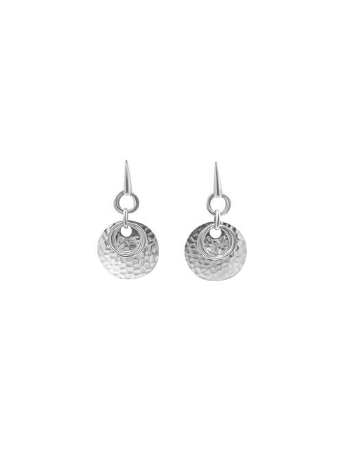Silver Layered Geometric Circle Earrings