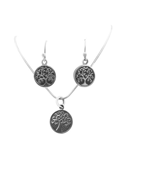 Silver Stamped Tree Earrings and Matching Pendant