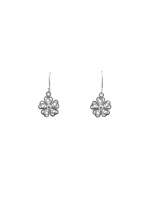 Silver Open Flower Earrings