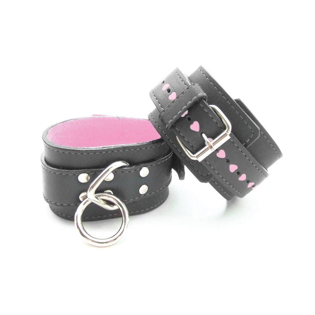 Sex Kitten Wrist Cuffs Black Leather w/ Pink Fur