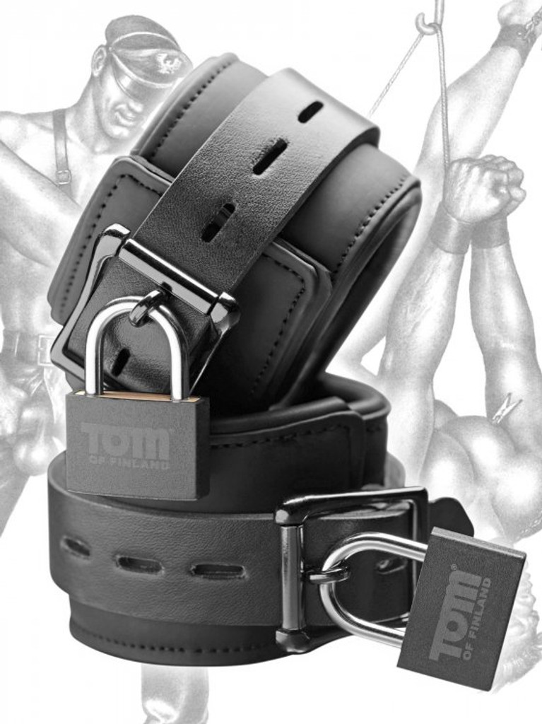 Tom of Finland Neoprene Wrist Cuffs W/LOCKS