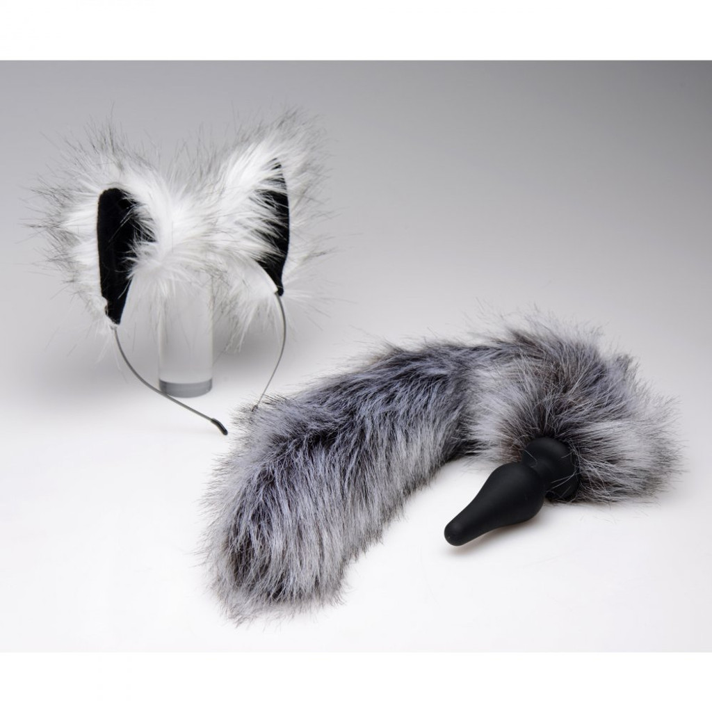 Grey Wolf Tail Anal Plug and Ears Set