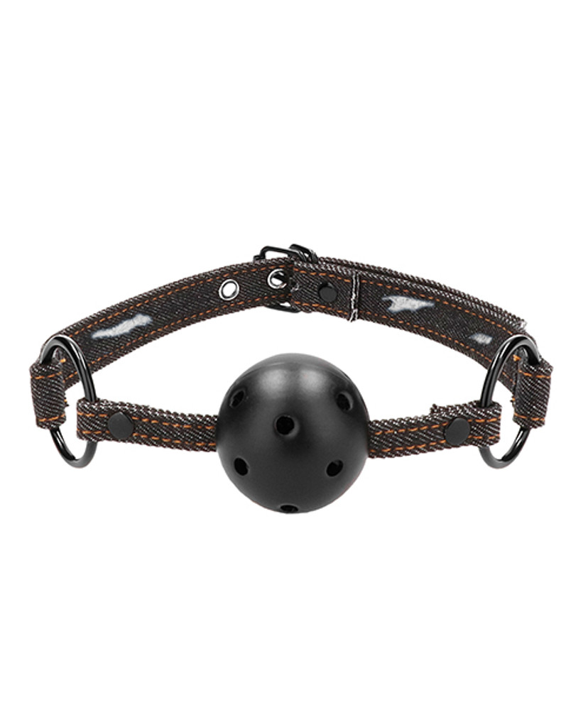 Shots Ouch Breathable Ball Gag w/Denim Straps
