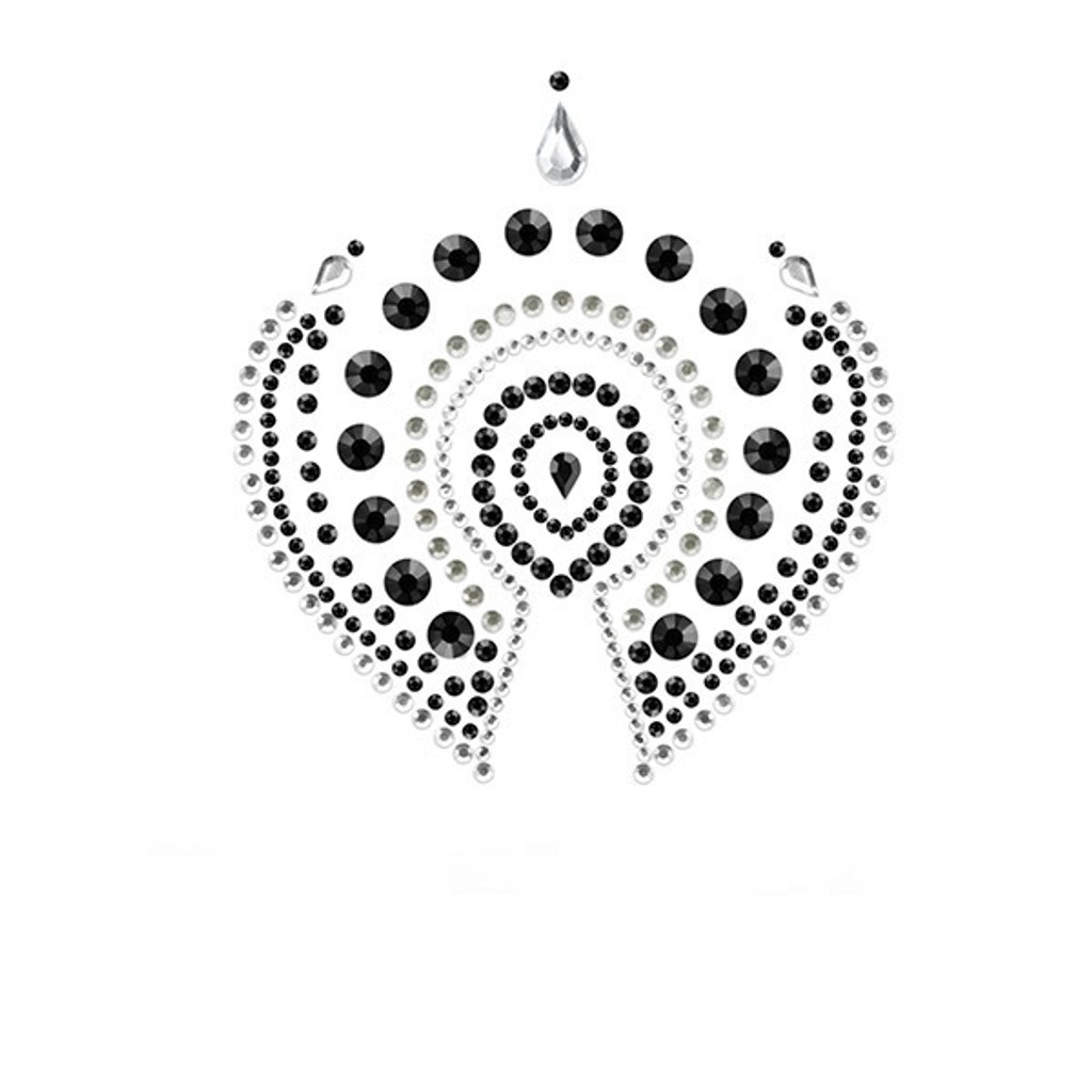 Bijoux Indiscrets Flamboyant Crystal Pasties - Black/Gray