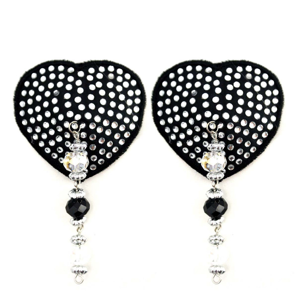 Bijoux de Nip Heart Black Crystal Pasties w/ Beads