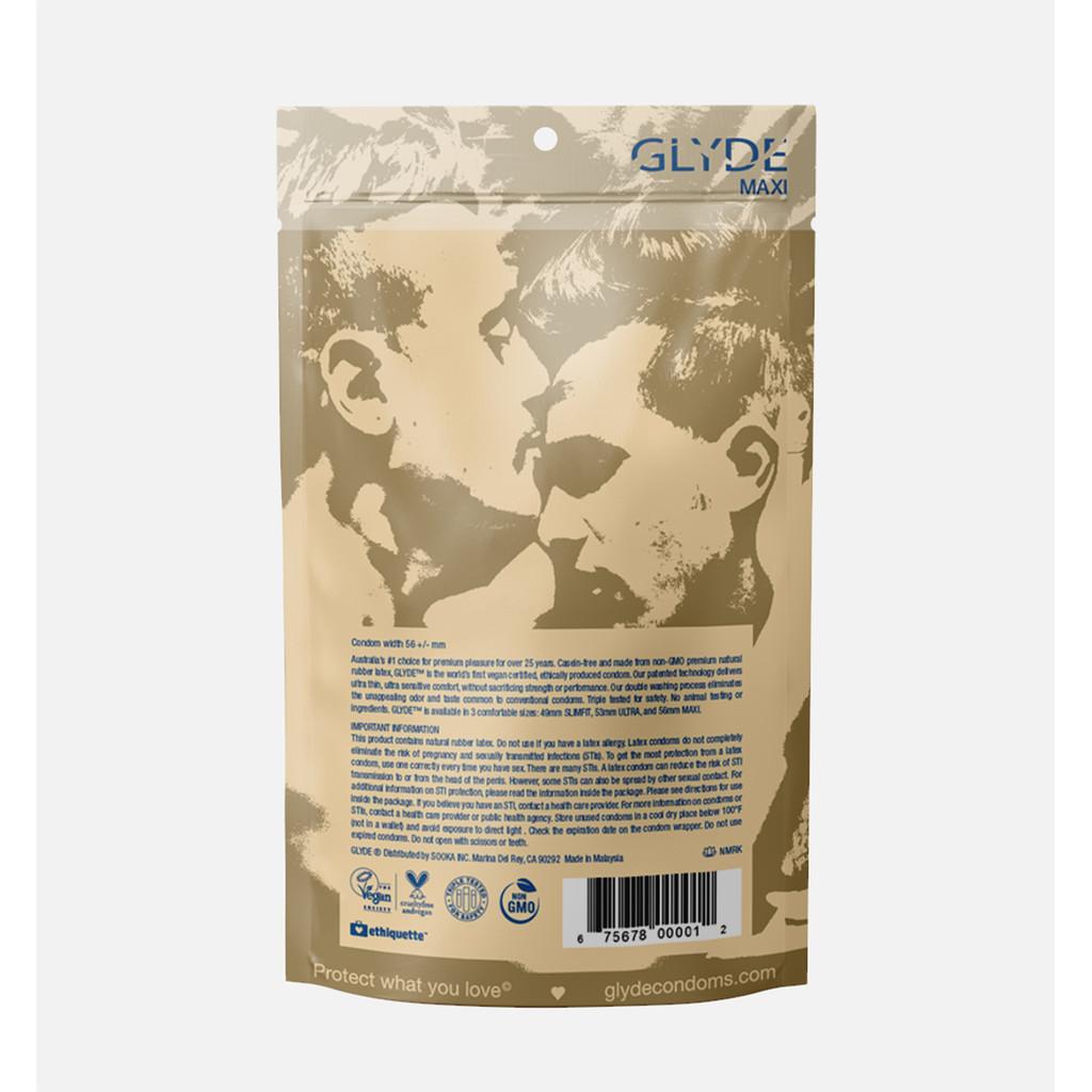 Glyde Maxi Vegan Condoms - Extra Large - 12 Pack