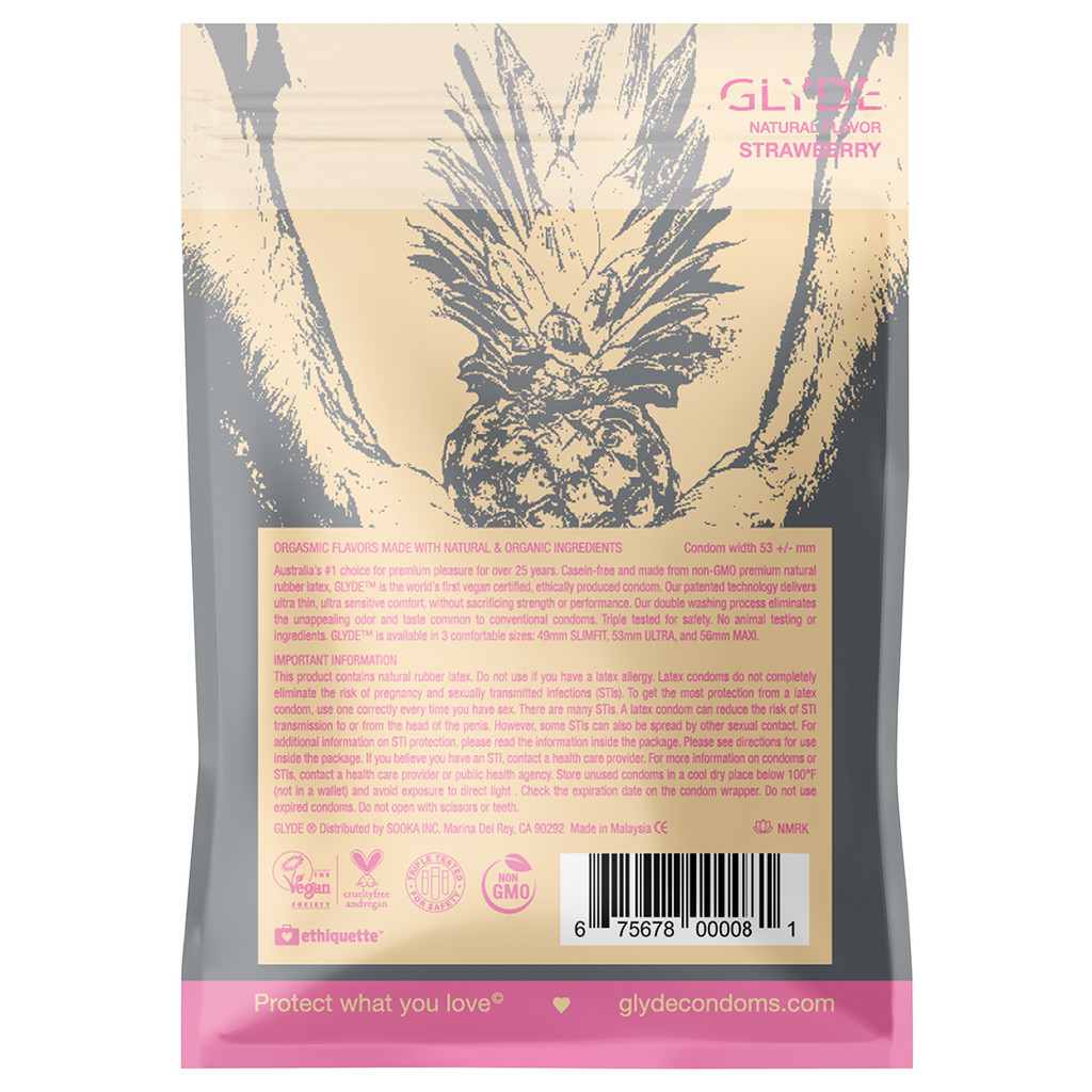 GLYDE Ultra Strawberry Flavored Vegan Condoms - 4 Pack