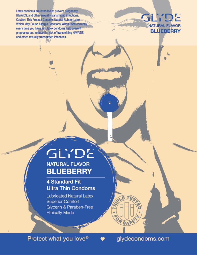 Glyde Ultra Organic Blueberry Vegan Condoms  - 4 Pack