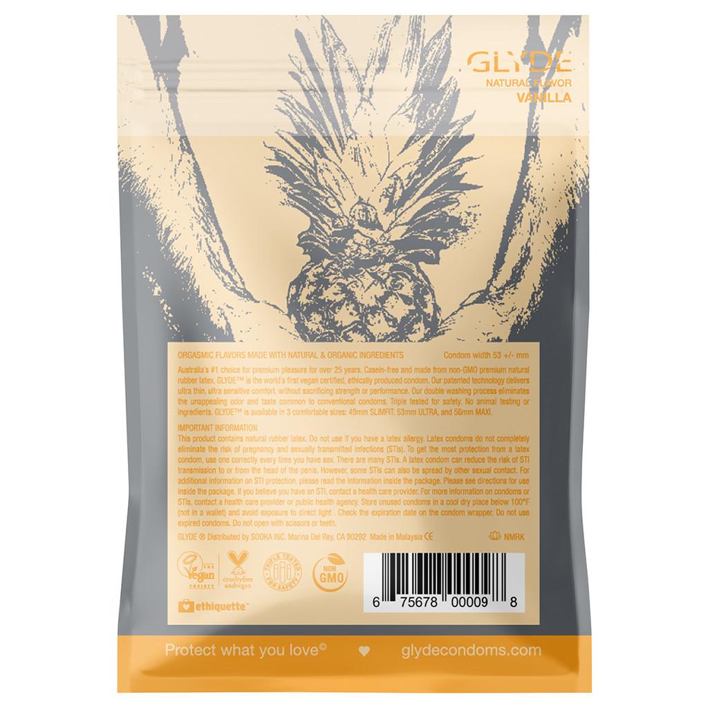 Glyde Ultra Organic Vanilla Vegan Condoms - 4 Pack