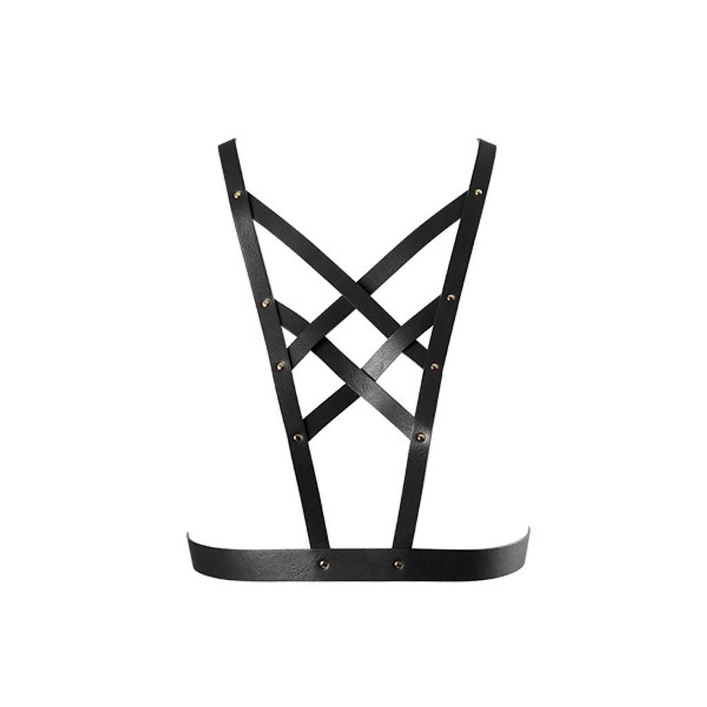 Maze Vegan Leather Cross Cleavage Harness