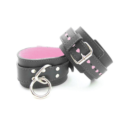 Sex Kitten Wrist Cuffs Black Leather w/ Pink Fur