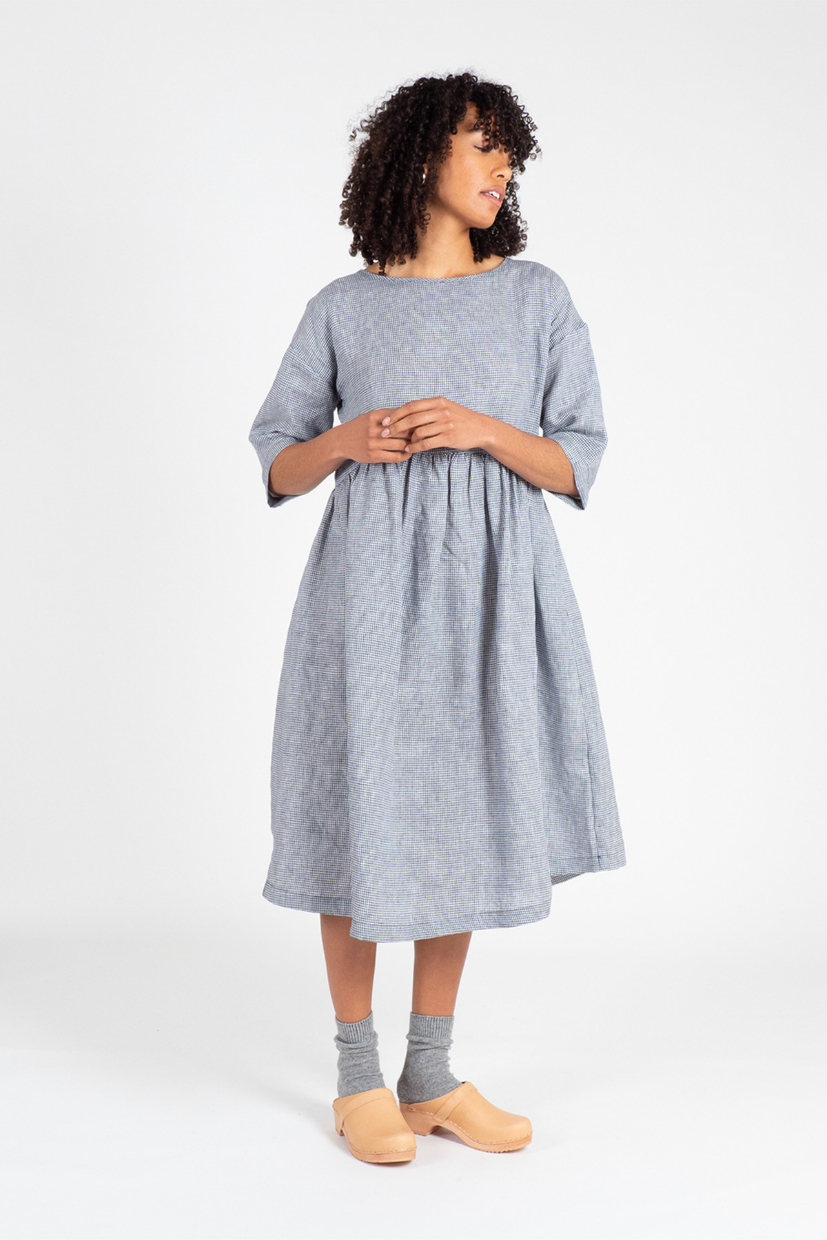 Linen Kimono Sleeve Shift Dress, Navy/White