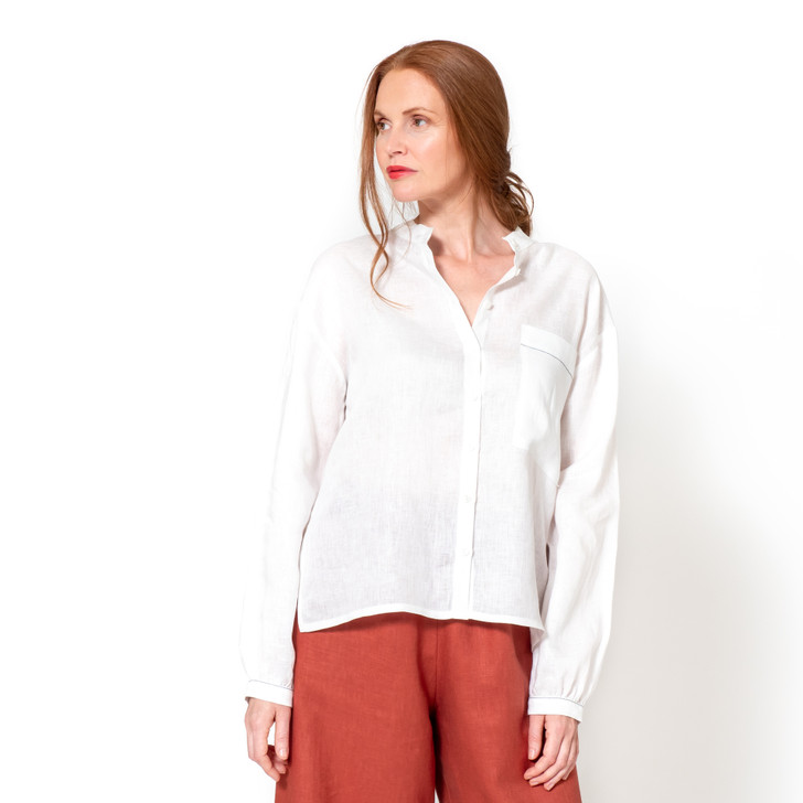 • Premium Japanese linen  • Banded collar  • Drop shoulder, balloon style sleeves with buttoned cuffs • Oversized bias cut patch pocket • Loose fit with a relaxed drape • Gathered at the back with bias cut split yoke • Straight hem with side vents • River shell buttons • Designed and made ethically in Melbourne, Australia