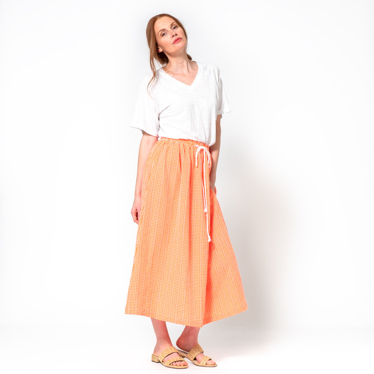 • Summer weight cotton gingham, small check • Gathered, elasticised waistband with cotton drawstring • Slightly A-line with indented side pockets • Maxi length (from waist 92cm)