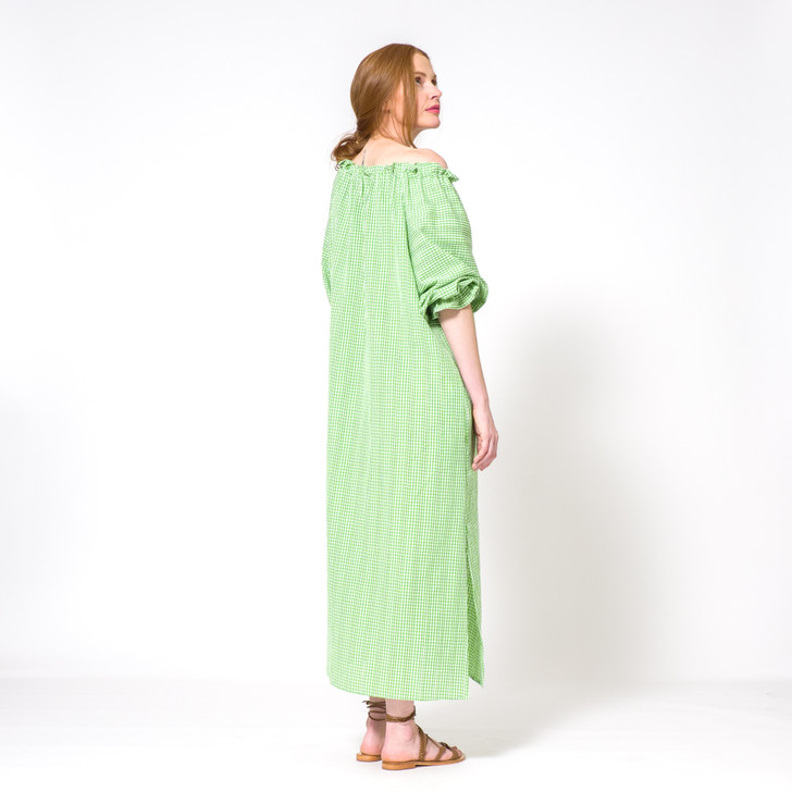 Cotton Raglan Sleeve Dress with Gathered Neckline and Ties, Green Gingham