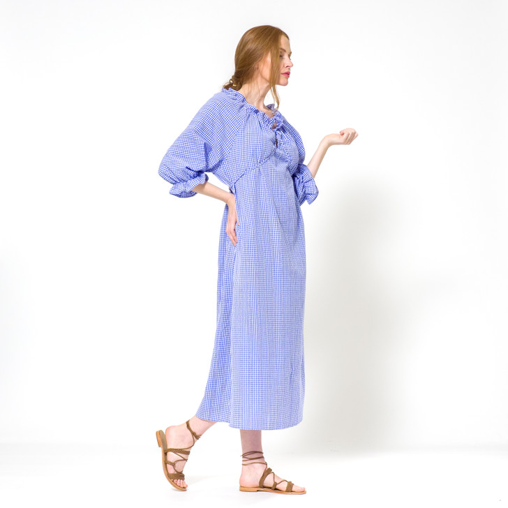 Cotton Raglan Sleeve Dress with Gathered Neckline and Ties, Blue Gingham