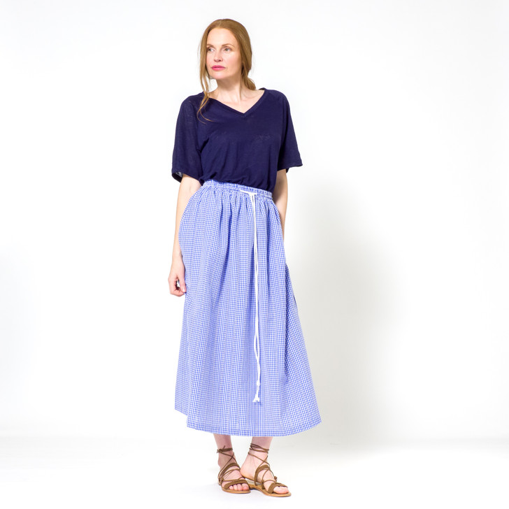 Gathered Cotton Gingham Skirt With Drawstring, Blue
