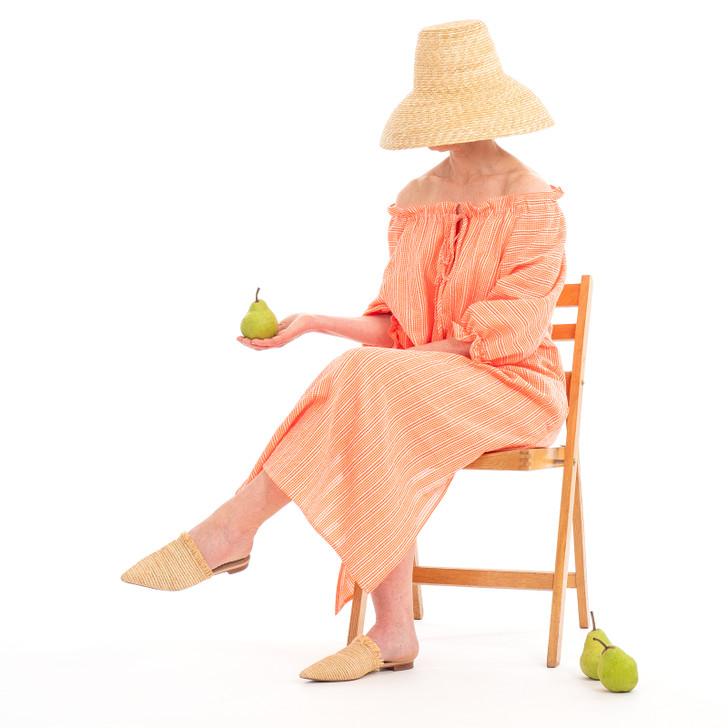 Cotton Raglan Sleeve Dress with Gathered Neckline and Ties, Tangerine Gingham