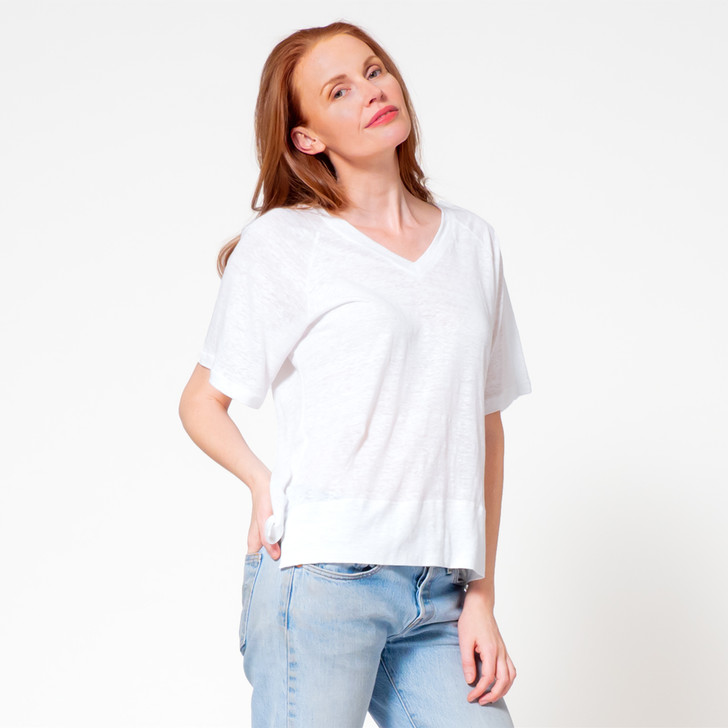 • Lightweight linen jersey • Raglan half length sleeves which drape elegantly on the arm • V-neck collar • Loose fit • Perfect top for wearing with pants, jeans, skirts and shorts • Also available in navy