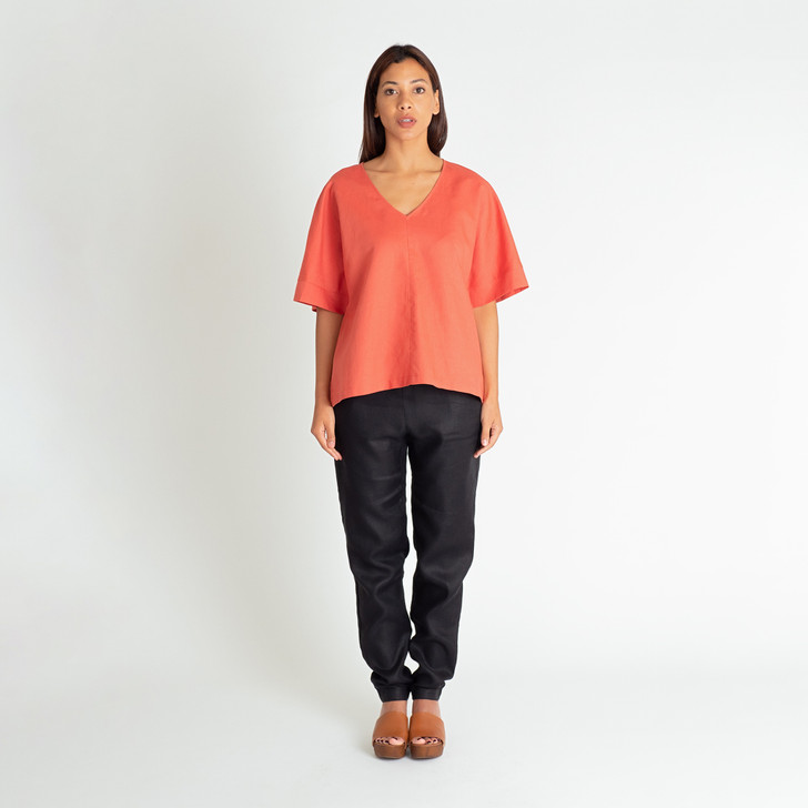 • Lightweight, breathable, easy care linen/cotton blend • Loose fit, classic v-neck with boxy silhouette • Kimono style, half-length sleeves • Wear over the waist or tucked in • Designed and ethically made in Melbourne, Australia
