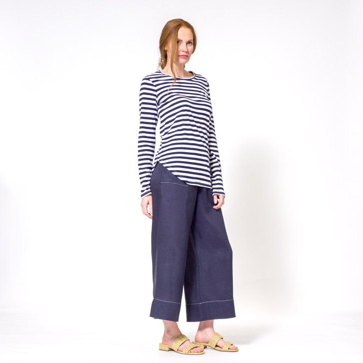 • Medium weight, high quality Indian cotton, knitted in Melbourne • Breton-style navy and white stripes • Curved hemline on one side, flat on the other • Signature extra length at front and back • Signature extra length on sleeves • Slim fit • Crew neck • Designed and made ethically in Melbourne, Australia