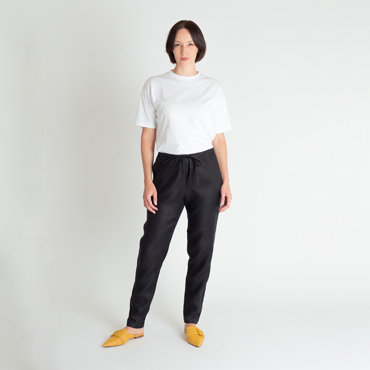 • Premium quality, lightweight linen • Tapered, full length leg • Flattering fit with an inner crutch seam for extra comfort • Drawstring waist • Side seam pockets • Slight drop crutch—can be worn on the hips or drop waisted • 2.5cm hem ensures the pant can be let down or taken up • Designed and made ethically in Melbourne, Australia