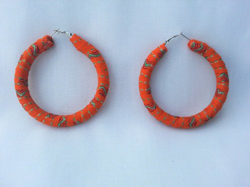 Orange Dazzle Hoop Earrings