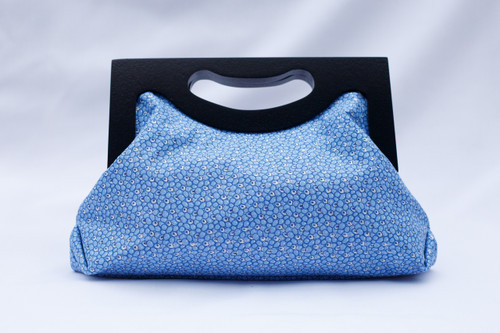 Wooden Handle Clutch Bag- Blue Shimmer