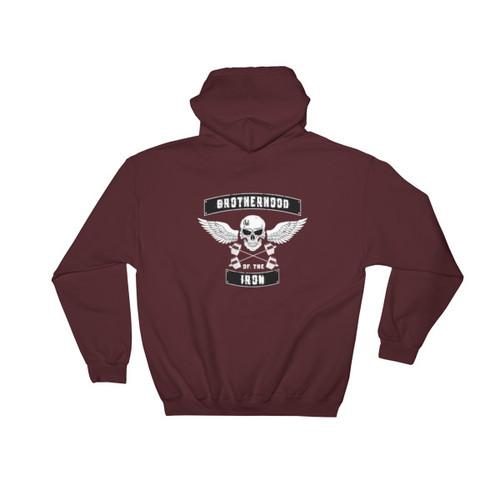 Iron Brotherhood White Ink Hooded Sweatshirt
