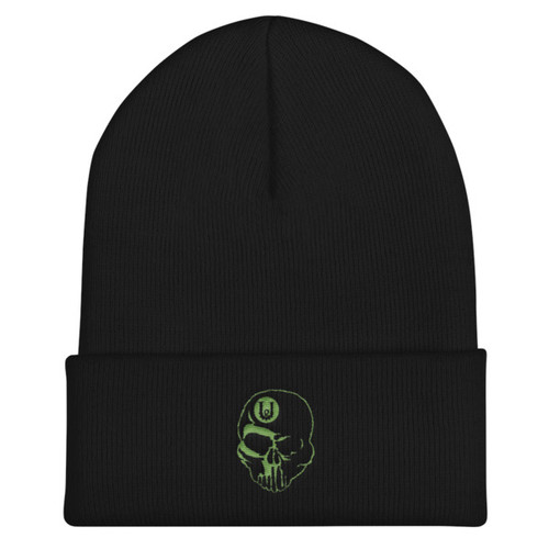 UG Skull Lime Green Cuffed Beanie