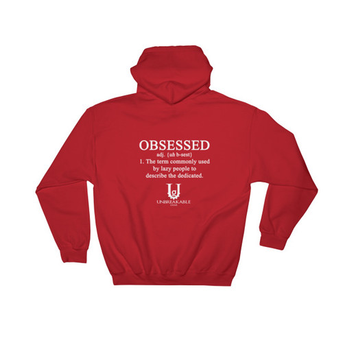 Obsessed White Font Pull Over Hooded Sweatshirt