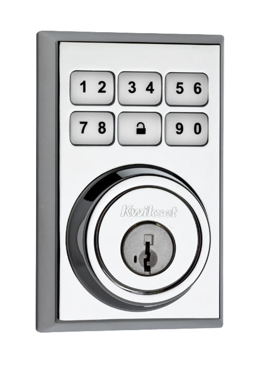Kwikset 909CNT-HFLSQT-S SmartCode Electronic Deadbolt with Halifax Lever and Squ