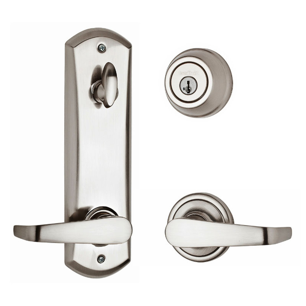Kwikset Metal Interconnect Single Cylinder Smartkey 780 Deadbolt With Kingston Passage Lever Satin Chrome 508knl15smt