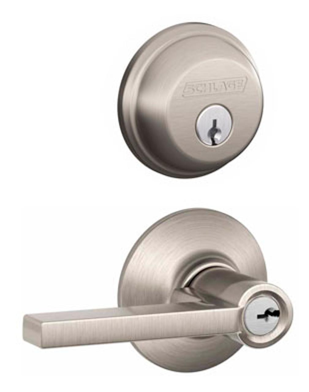 Satin Nickel Keyed Entry Lever Door Knob Lock W// Deadbolt 3 PACK!
