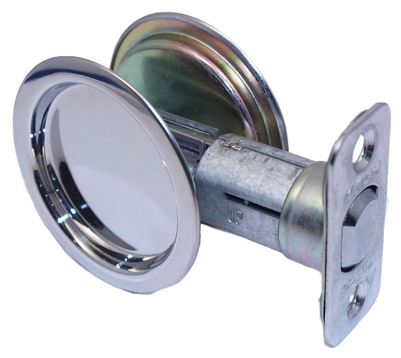 Kwikset / Round Pocket Door Lock / Passage / Polished Chrome / 334 32 RDT