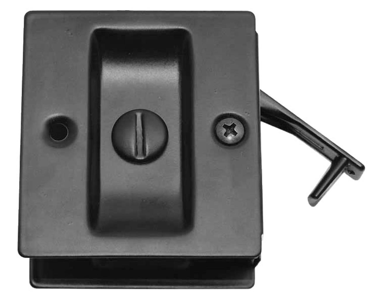 Donjo Square Pocket Door Lock Privacy Black Pdl 101 622