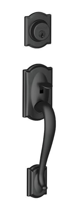 Schlage / Camelot Handleset / Single Cylinder / Matte Black / F60CAM 622