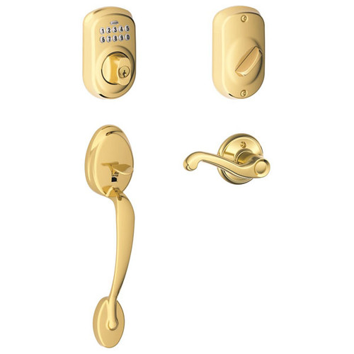 Schlage / Plymouth Keypad Handleset with Flair Lever Interior / Keyed Entry / Lifetime Bright Brass / FE365PLYxFLA505