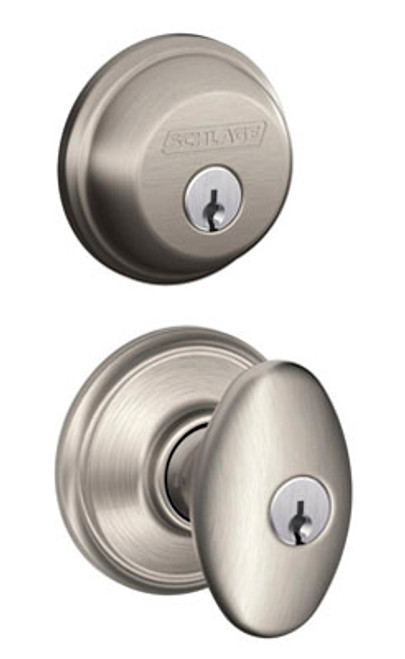 Schlage / Siena Knob / F51A Keyed Entry with B60 Single Cylinder Deadbolt Combo Pack / Satin Nickel / FB50NVSIE619