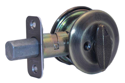 Kwikset 667 Series Deadbolt Antique Brass Blank Plate On
