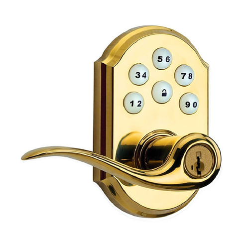 Kwikset / 912 Keypad Tustin Lever with Z-Wave / Smartkey / Lifetime Polished Brass / 912TNL TRL ZW LO3 SMT