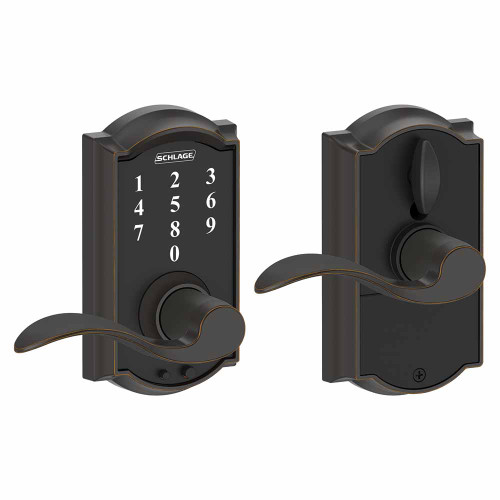 Schlage / Camelot Touch Keyless Entry with Accent Lever / Touchscreen / Aged Bronze / FE695CAM 716 ACC
