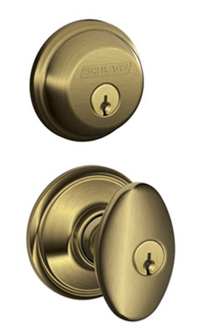 Schlage / Siena Knob / F51A Keyed Entry with B60 Single Cylinder Deadbolt Combo Pack / Antique Brass / FB50NVSIE609